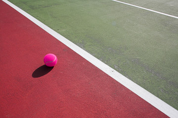 colorful tennis court close up at day time