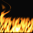 a large illustration of firey flames on a black background