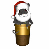Gray mouse standing in a thimble wearing a Santa hat and beard poster