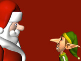 One of the elves having a one on one with Santa Claus poster