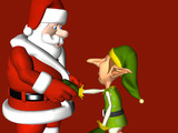 One of the elves shaking hands with Santa Claus poster