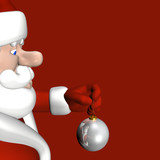Santa preparing to put a shiny silver ornament on a tree poster