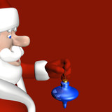 Santa preparing to put a shiny blue ornament on a tree. poster