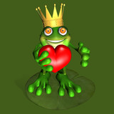 A prince of a frog kneeling on a lily pad offering you his heart poster