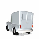 Toon White Delivery / Cargo Truck with blank body poster