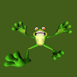 A scared frog running towards you or falling backwards. poster