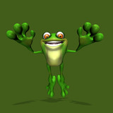 A happy frog jumping towards you. poster