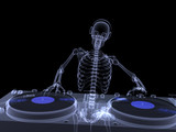 Skeleton DJ X-ray poster