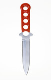 knife with red handle on white poster