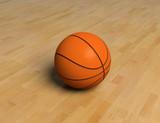 basketball game ball over the hardwood floor (3D) poster