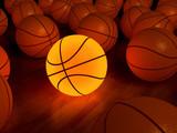 basketball glow game ball over the hardwood floor (3D) poster