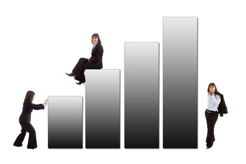 business woman with a sales graphic isolated on white