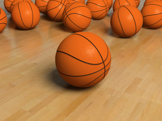 basketball game bal over the white bachground (3D)