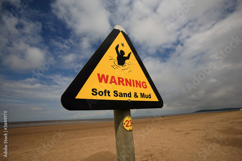 poster of Soft sand and mud danger sign on berrow beach