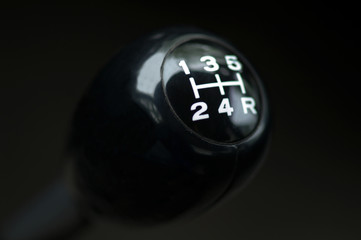 Close up of a car gear shift. Stick shift.