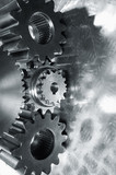 industrial gears in smooth silver toning poster
