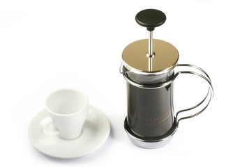 french press coffee with cup white isolate