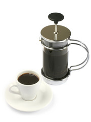 french press coffee with full cup