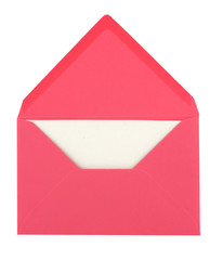 pink envelope with a blank card isolated on white background