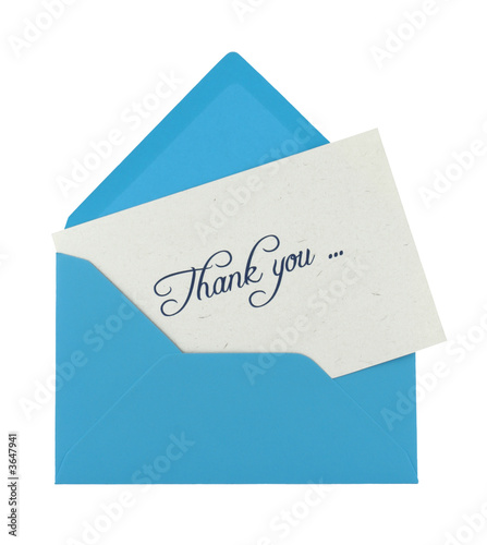 thank you note in a blue envelope isolated on white