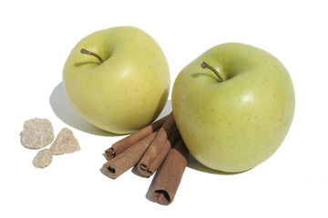 Two apples with cinnamon and sugar