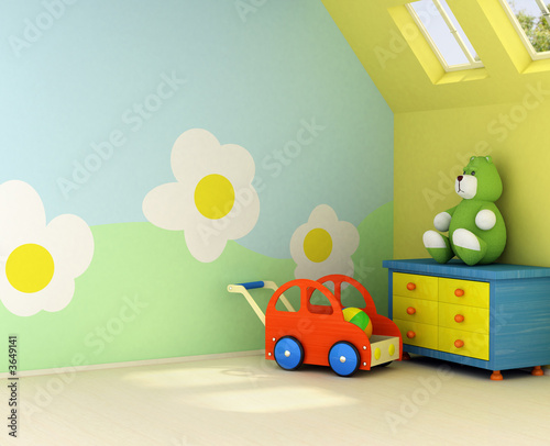 Freshly painted room for a baby