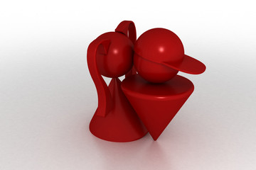 3d model first kiss. Made in 3ds max