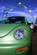 Car sale at dealership, green colorful car