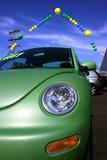 Car sale at dealership, green colorful car poster