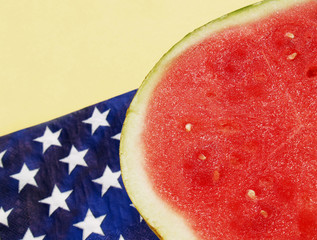 watermelon by a patriotic napkin