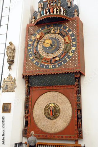 A clock 530 years old at the Marienkirche Church in Gdask