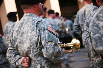 Military musician with his trumpet
