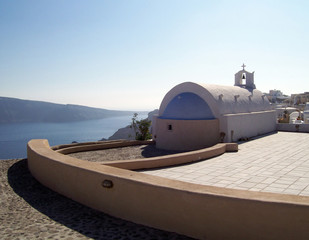 Santorini Oia chapel on the mountainside