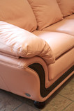 Smart leather sofa on marble to a floor poster