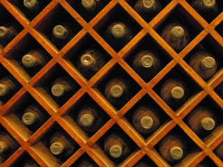 Wine bottles in the rack
