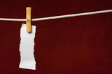 scrap paper attach clothes-peg to rope on venous background poster