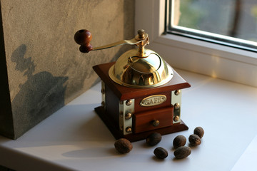 OLd fashion coffee grinder isolated