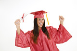 A female caucasian in red graduation gown  poster