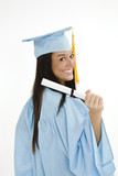 A female caucasian in blue graduation gown  poster