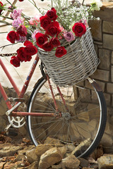 Basket of roses on a bicycle