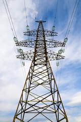 Power line pillar against sky