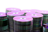 CD or DVD disks storage pile . poster