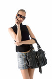 young beautiful woman in short skirt and sunglasses poster