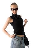 woman with black leather handbag poster