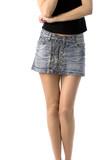 bare legs of girl in short jeans skirt, isolated on white poster