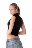 half-turned young sexual woman in black skintight t-shirt poster