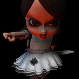 Last chance, now GO!.Halloween doll holding a knife. poster