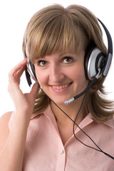 beautiful smiling customer support girl