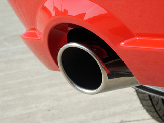 Exhaust pipe / Tailpipe on new red sports car
