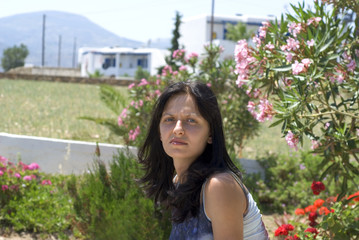 pretty Bulgarian woman Greek island scene
